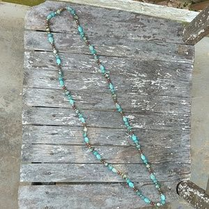 Long Beaded ☀️3/$15!🌵 Necklace Brown Teal Gold